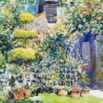 "'June sunshine in the garden' watercolour Virtual Art Trail demo June 2020 13""x10"""