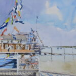 "'Burnham Week flags' watercolour 9""x7"""