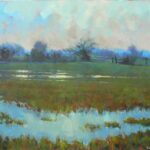 "Flooded marshes in winter  acrylic 24""x20""x1"""