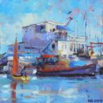 "Sailing home, Slaughden Quay  acrylic 10""x10""x1"""