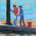 "Crabbing at Burnham  acrylic 6""x6""x1"""
