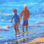 "Boys paddling  acrylic 6""x6""x1"""