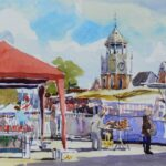 "'Market day Burnham' watercolour 9""x7"""