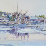 "'Autumn dusk Maldon Hythe' watercolour 9""x7"""