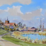 "'Early March sunshine Maldon Prom lake' watercolour 13""x10"""