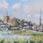 "'Prom Lake and Maldon Hythe' watercolour 9""x7"""