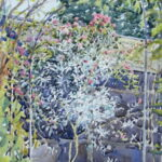 "'Garden border through arch' watercolour 9""x7"" Lockdown art April 2020"