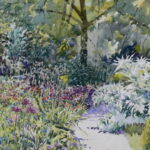 "'Garden border in May sunshine' watercolour 13""x10"" Lockdown art May 2020"