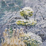 'Snow falling on holly'