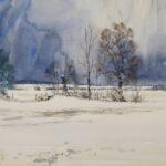 'Snow scene Bradwell marshes'