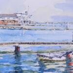 'Burnham waterfront and moored tender'